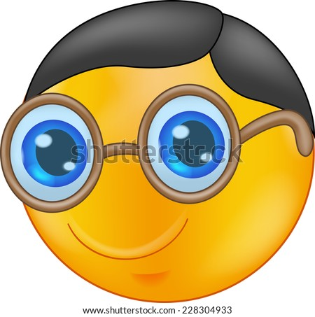 Illustration of a Smiley Wearing Glasses - stock vector
