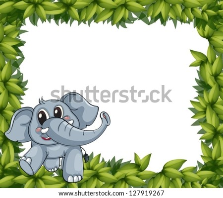 Illustration of a smiling elephant and plant frame on a white background - stock vector