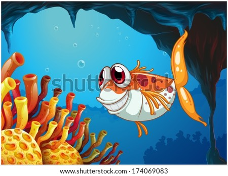 Illustration of a smiling fish under the sea inside the cave - stock vector