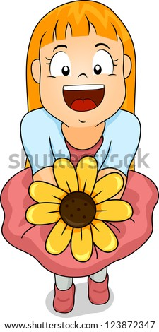 Illustration of a Smiling Girl Offering a Sunflower - stock vector