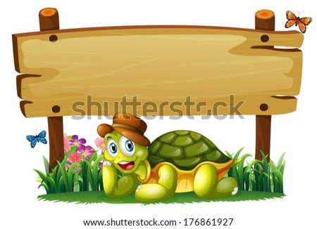 Illustration of a smiling turtle below the empty wooden board on a white background - stock vector