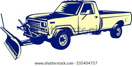 Illustration of a snow plow truck set on isolated white background done in retro woodcut style.  - stock vector