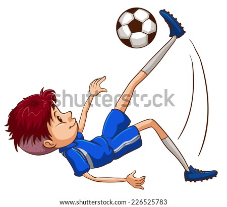 Illustration of a soccer player kicking the ball on a white background  - stock vector