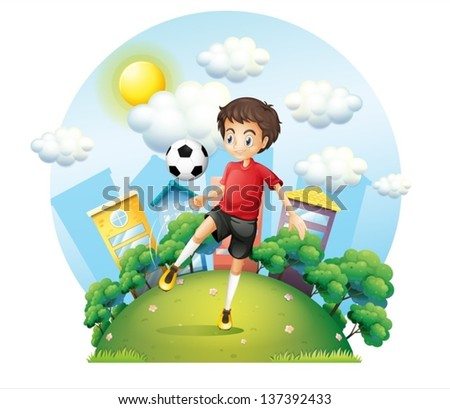 Illustration of a soccer player practicing near the high buildings on a white background - stock vector