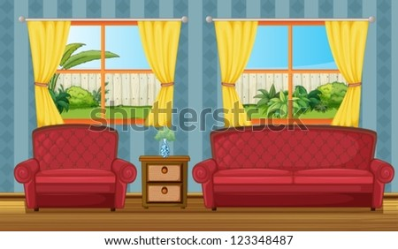 Illustration of a sofaset and side table in a room - stock vector