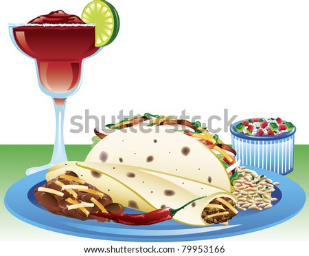 Illustration of a soft taco meal with spanish rice, refried beans, and a strawberry magarita. - stock vector