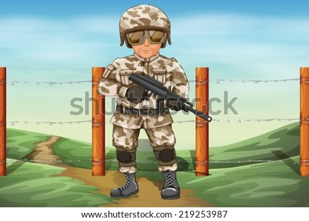 Illustration of a soldier holding a gun - stock vector