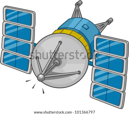 Illustration of a Space Satellite - stock vector