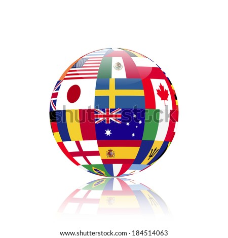 Illustration of a sphere with flags from various countries. - stock vector