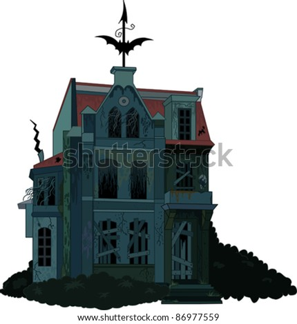 Illustration of a spooky haunted ghost house - stock vector