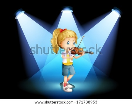 Illustration of a stage with a young girl playing with her violin - stock vector