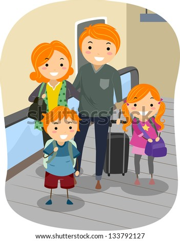 Illustration of a Stickman Family riding a Moving Walkway in an Airport - stock vector