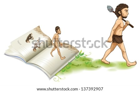 Illustration of a story of the evolution of man on a white background - stock vector