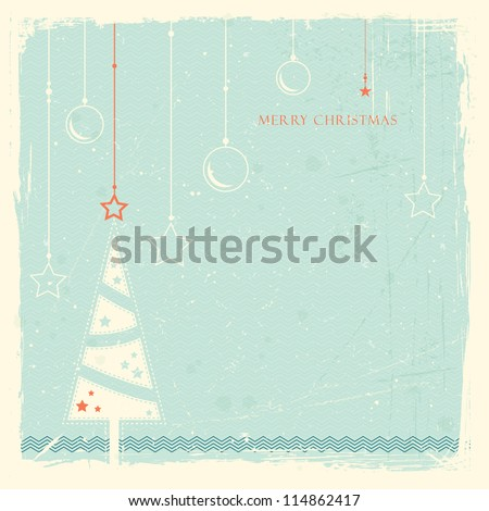 Illustration of a stylized Christmas tree with with hanging Christmas ornaments on pale blue grunge background. Space for your text. - stock vector