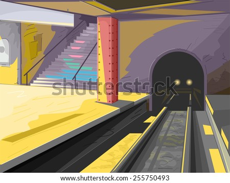 Illustration of a Subway Station With an Incoming Train - stock vector