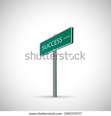 Illustration of a success street sign isolated on a white background. - stock vector