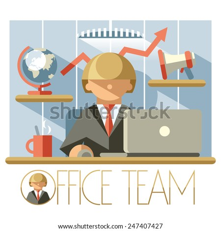 Illustration of a successful leader at his workplace - stock vector