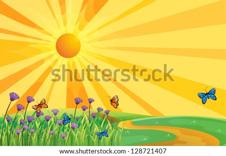 Illustration of a sunset view and the butterflies - stock vector