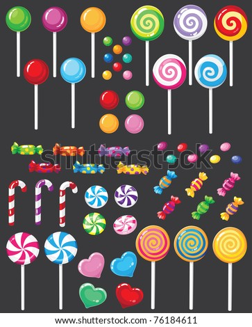 illustration of a sweets candy set - stock vector