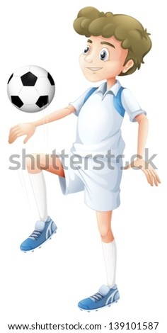 Illustration of a tall boy playing soccer on a white background - stock vector