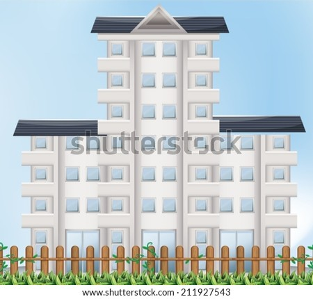 Illustration of a tall building - stock vector