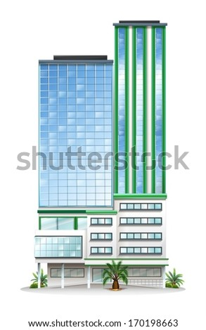 Illustration of a tall commercial building on a white background - stock vector