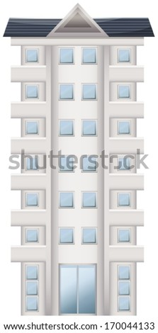 Illustration of a tall condominium on a white background - stock vector