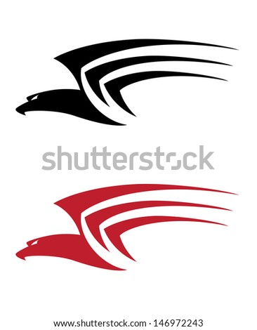 illustration of a tatoo big hawk - stock vector