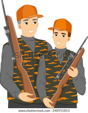 Illustration of a Teenage Boy Hunting With His Dad - stock vector