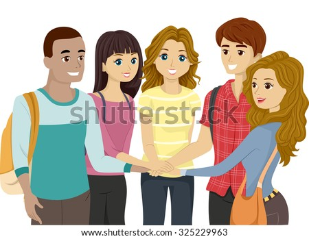 Illustration of a Teenage Group Putting Their Hands Together - stock vector