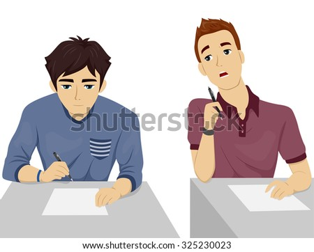 Illustration of a Teenage Student Looking Over the Test Paper of His Seatmate - stock vector