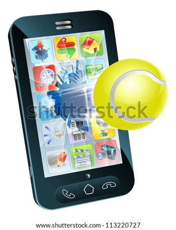 Illustration of a tennis ball flying out of a broken mobile phone screen - stock vector
