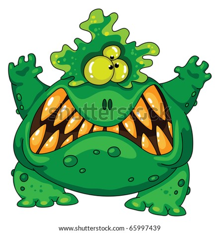 Illustration of a terrible green monster - stock vector