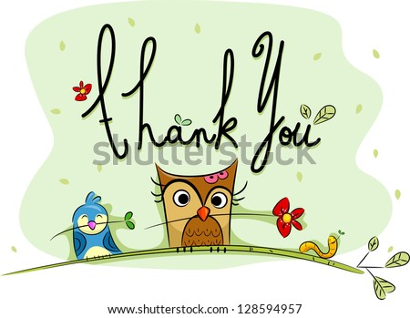 Illustration of a Thank You Card with Birds in the Background - stock vector