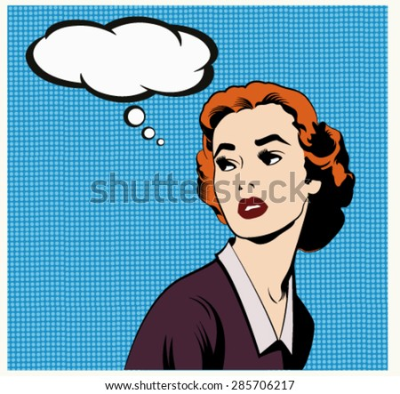 Illustration of a thinking woman in a pop art,comic style - stock vector
