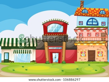 illustration of a three different building types - stock vector