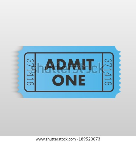 Illustration of a ticket on a light gray background. - stock vector