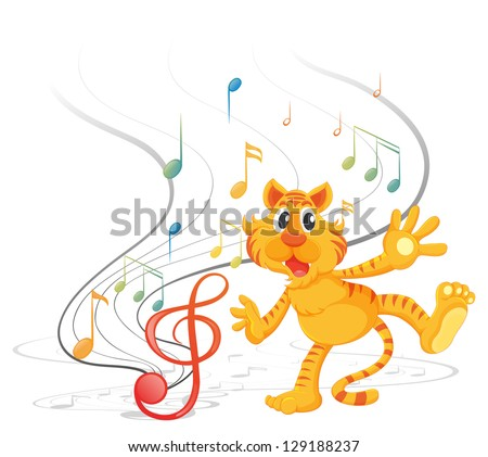 Illustration of a tiger with musical notes on a white background - stock vector