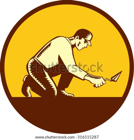 Illustration of a tiler plasterer mason masonry construction worker with trowel viewed from side set inside circle done in retro woodcut style.  - stock vector