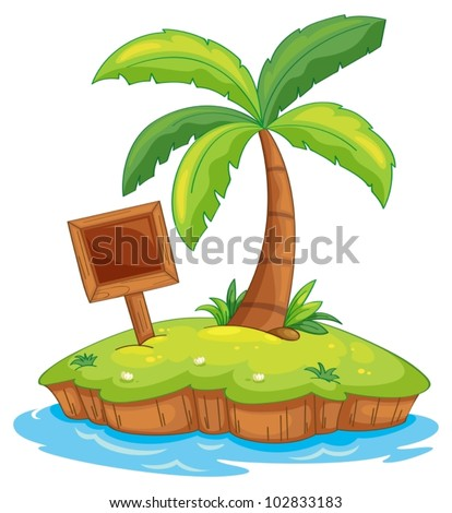 Illustration of a tiny island - stock vector