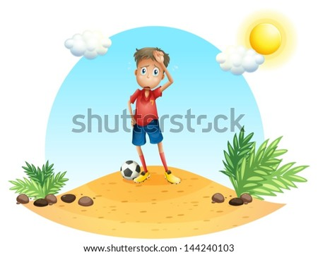 Illustration of a tired soccer player on a white background - stock vector