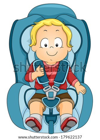 Illustration of a Toddler Strapped to a Car Seat - stock vector