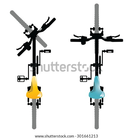 Illustration of a top view of generic bicycles isolated on a white background.  - stock vector