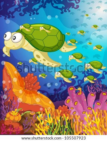 illustration of a tortoise swimming in water - stock vector