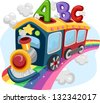 Illustration of a Train on a Rainbow loaded with ABC - stock vector