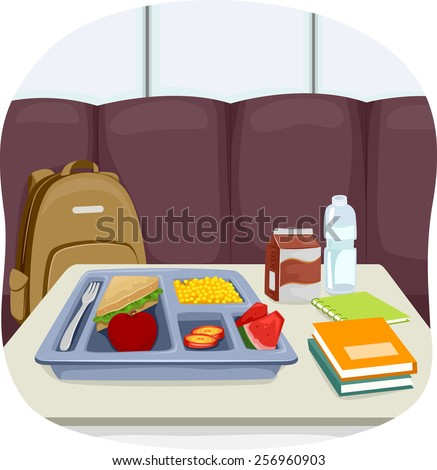 Illustration of a Tray of School Lunch Sitting in the Middle of the Cafeteria - stock vector