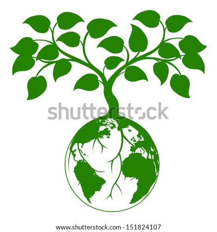 Illustration of a tree growing with its roots round the earth or growing out of the earth - stock vector