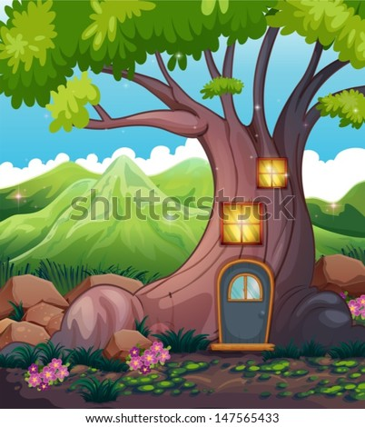 Illustration of a tree house in the middle of the forest - stock vector
