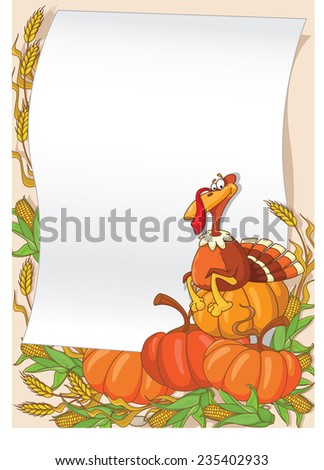 illustration of a turkey background - stock vector