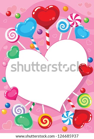 illustration of a valentines card with candy - stock vector